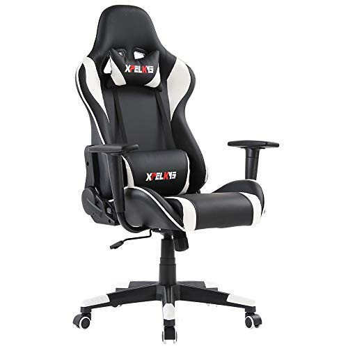 XPELKYS Gaming Chair Computer Game Chair Video Game Chair Computer Desk Chair Racing Style High Back PU Leather Chair Ergonomic Style Swivel Chair with Headrest and Lumbar Support (White)