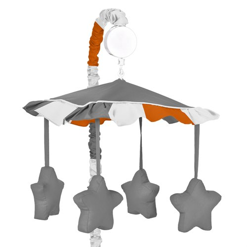 Sweet JoJo Designs Modern Gray and Orange Stripe Musical Baby Crib Mobile by Sweet Jojo Designs