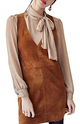 R.Vivimos Women Autumn Suede Vintage V Neck Sleeveless Pockets A Line Dresses Brown Small