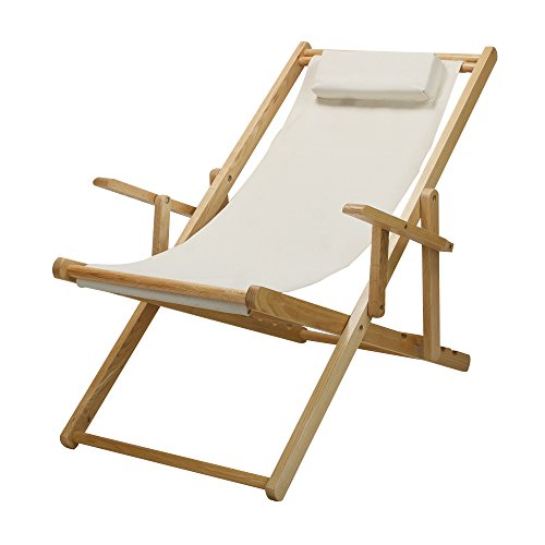 Fabric Outdoor Folding Chair - Casual Home  Adjustable Sling Chair Natural Frame, Natural Canvas