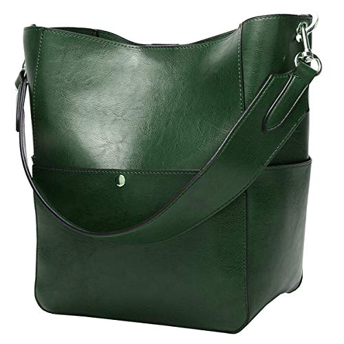 (Molodo Women's Satchel Hobo Top Handle Tote Shoulder Purse Soft Leather Crossbody Designer Handbag Big Capacity Bucket Bags (Green))