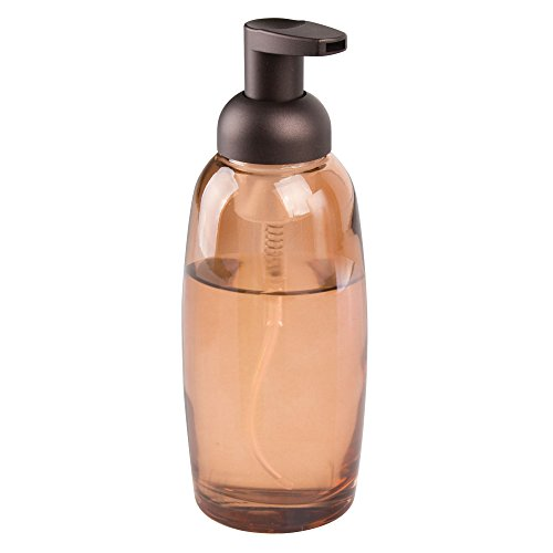 mDesign Modern Glass Refillable Foaming Soap Dispenser Pump Bottle for Bathroom Vanities or Kitchen Sink, Countertops - Sand Brown with Bronze Pump Head