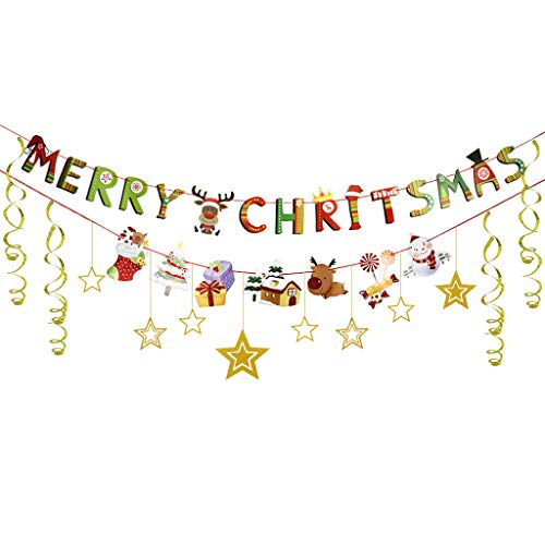 2018 Christmas Banner Set (Pre-Strung) Merry Christmas Banner With Gold Stars Gold Foil Swirls ()