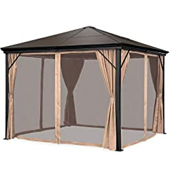 Garden and Outdoor Best Choice Products 10x10ft Hardtop Gazebo, Outdoor Aluminum Canopy for Backyard, Patio, Garden w/Side Curtains… pergolas