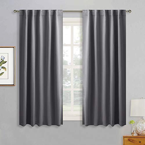 RYB HOME Décor Blackout Curtains for Bedroom, Thermal Insulated Window Privacy Drapes with Rod Pocket & Back Tab Top Hang with Rods/Rings/Hooks, W 42