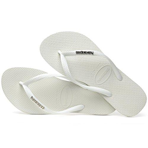 Havaianas Slim Infradito White Donna Silver Metallic Logo OqafpOw