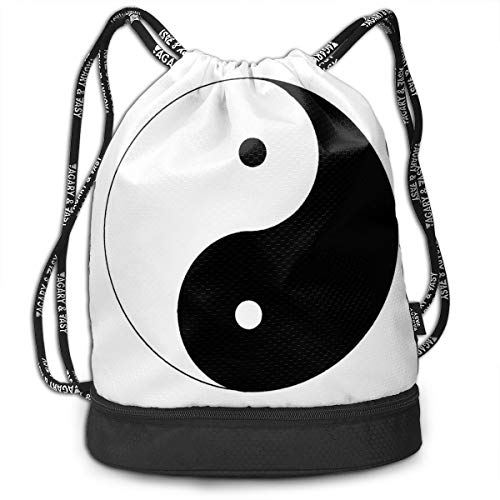 - XTGOO Yin Yang Black and White Drawstring Backpack Bag Outdoor Bundle Backpack Gym Sackpack Travel Sport Yoga Gym Cinch Bag Beach Rucksack for Women & Men