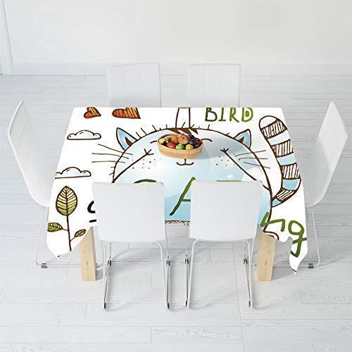 - Fashionable Tablecloth,Quirky Decor,for Secretaire Square Table Office Table,90.2 X 70.1 Inch,Kitten and Birdie Friends on Skateboard Playing