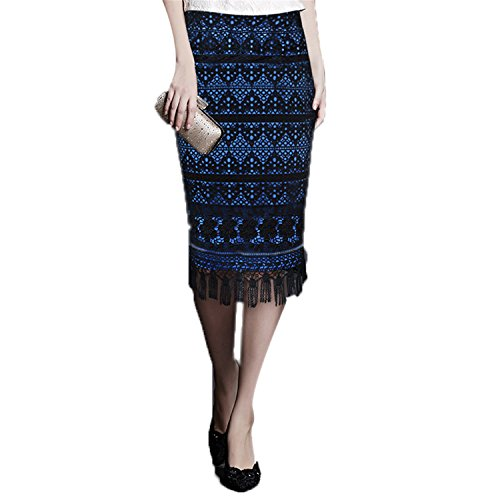 [YOSICIL-U Sexy Womens Vintage Retro Crochet Tassel Patchwork Casual Work Office Party Pencil Sheath Cocktail Skirt 3898 Black and Blue] (Celebrities To Dress Up As)