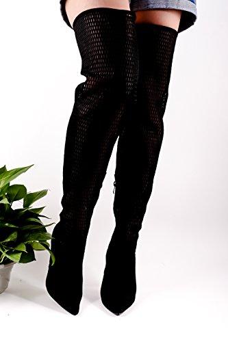 Lolli Couture Pelle Scamosciata Materiale Pesce Netto Punta Punta Look Elastico Disegno Cerniera Laterale Sopra Il Ginocchio Stiletto Tacchi Alti Scarpe Nero-m48-4