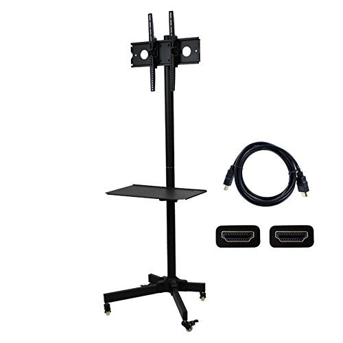 NavePoint Flat Panel TV Cart Height Adjustable 23'' to 55'' Mobile Stand w/Wheels HDMI