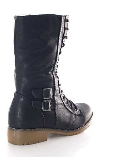 Damen Schnürr Stiefelette warm gefüttert Schwarz # 3006 +++ fällt kleiner aus, 1 Nr grösser bestellen ! +++