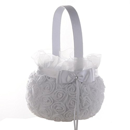 Dacawin Wedding Basket,New Romantic Bowknot Silk Cloth Wedding Ceremony Party Rose Flower Girl Basket (White) ()