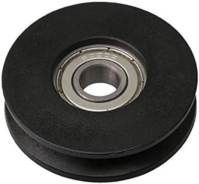 50x13mm Schwarz Nylon Lager Stahl Seilrolle Radlager Umlenkrolle 7.5x6.5mm Nut Tragende 125 KG für Fitnessgeräte Garagentoröffner