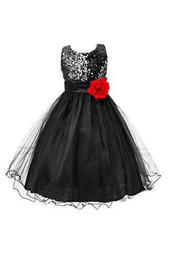 Sleeveless Birthday Flower Tulle Black Tutu Girls Party YMING Dress Princess Sequin Dress qXHFO7Zxw