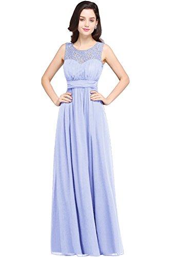 MisShow Elegant A-line Lace Neck Long Mother of The Bride Dresses,Lavender,14