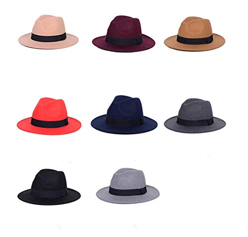 86de7d02507 Lanzom Women Wide Brim Warm Wool Fedora Hat Retro Style Belt Panama Hat  Christmas Gift