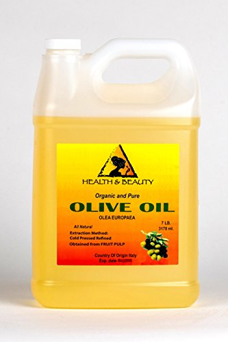 Olive Oil Refined Organic Carrier Cold Pressed Natural Fresh 100% Pure 128 oz, 7 LB, 1 gal
