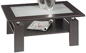 Alfa-Tische M1500 Malaga - Mesa de café (superficie de cristal opalino, 100 x 65 cm), color haya