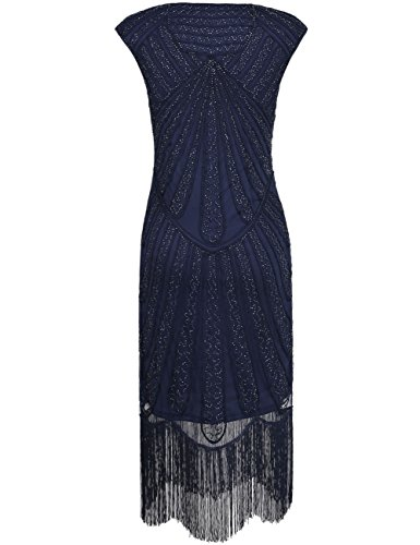 Damen Retro Spitze Kleid 1920er Deco Flapper Franse Blau Jahre Perlen Inspirert Kayamiya Art dS4npqwdc