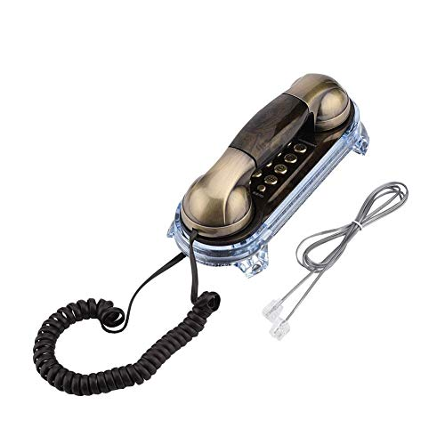 (Yesbaby Antique Retro Wall Mounted Telephone Corded Phone Landline Fashion Telephone for Home Hotel (Color : Bronze))