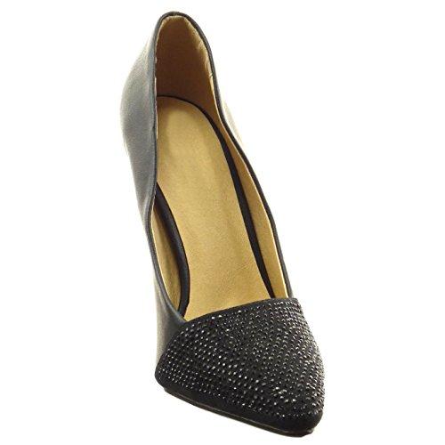 Sopily - Zapatillas de Moda Tacón escarpín decollete stiletto bimaterial Tobillo mujer strass Talón Tacón de aguja alto 10.5 CM - Negro