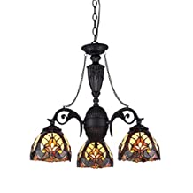 Chloe Lighting CH33367IV21-DC3 Liaison Tiffany-Style Victorian 3-Light Mini Chandelier with 20.5-Inch Width