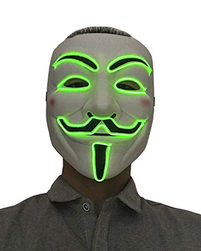 Anonymous Halloween Mask Cosplay LED Glow Scary EL Wire Light up Grin Masks for Festival Parties Costume