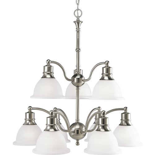 (Progress Lighting P4283-09 9-Light Two-Tier Madison Reversible Chandelier, Brushed Nickel)