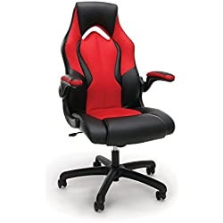 Essentials Racing Style Leather Gaming Chair - Ergonomic Swivel Computer, Office or Gaming Chair, Red (ESS-3086-RED)