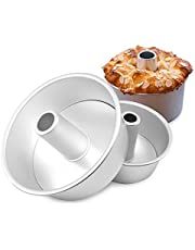 Angel Food Cake Pan, Dealglad 6 inch Aluminum Round Chiffon Cake Mold Baking Tins with Removable Bottom