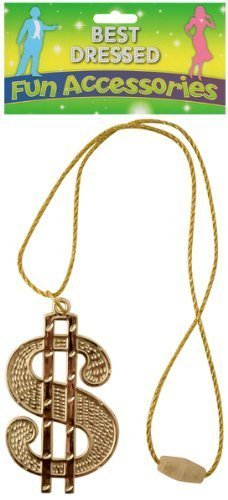 Gold Dollar Sign Necklace Fancy Dress Costume 70s 80s Rapper Pimp Accessory New for $<!--$2.36-->