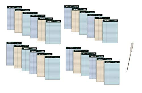 TOPS Docket 100% Recycled Writing Tablet, 5 x 8 Inches, Perforated, Assorted Colors, 50 Sheets per Pad, 6 Pads per Pack, 4 Packs, 24 Pads Total (99601) by TOPS