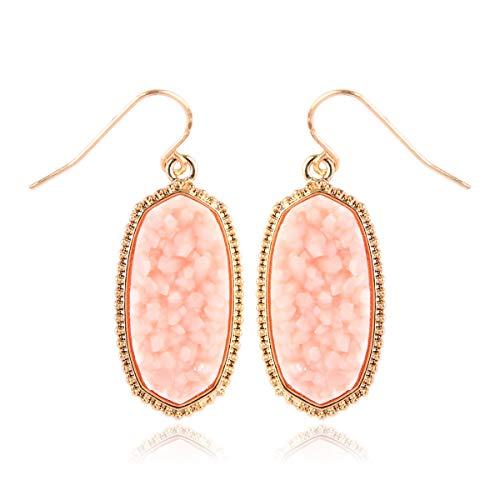 RIAH FASHION Lightweight Acrylic Stone Druzy Crystal Delicate Earrings - Sparkly Geometric Decagon Oval Drop, Polygon Hook Dangles, Hexagon Studs (Oval Hexagon Medium - Light Pink)