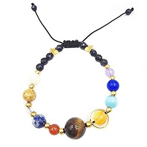 Unisex Handmade Galaxy Solar System Bracelet Universe Nine Planets Star Natural Stone Beads Bracelets Bangles