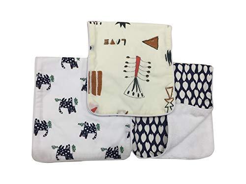 ONLY BS Burp Cloths for Boys Girls Soft and Absorbent Baby Burp Cloth 3pc Set