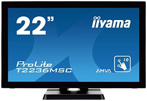 iiyama T2236MSC-B2 55,9 cm (22 Zoll) LED-Monitor (VGA, HDMI, DVI, USB, 8ms Reaktionszeit) schwarz