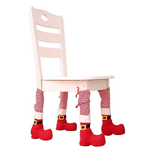 Hangnuo 4 Set Christmas Table Chair Leg Cover in Santa Claus Stockings and Slippers, Xmas Party Decoration Novelty Gift Favors