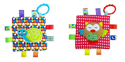 Little Taggie Like Theme Baby Sensory, Security & Teething Closed Ribbon Style Colors Security Comforting Teether Blanket - Snail & Owl 2-Pack w/Gift Box by J&C Family Owned