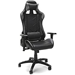 Essentials Racing Style Leather Gaming Chair - Ergonomic Swivel Computer, Office or Gaming Chair, Red (ESS-6066-GRY)