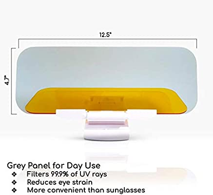 Bonus Light Included Great for Summer Driving Clips to Visor and Flips Down for Day and Night Use Suproza Car Sun Visor Extender