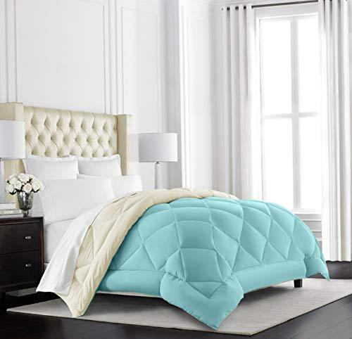 Hemau Premium New Soft Goose Down Alternative Reversible Comforter - All Season - Premium Quality Luxury Hypoallergenic Comforter - King/Cal King - Aqua/Ivory | Style 503192843