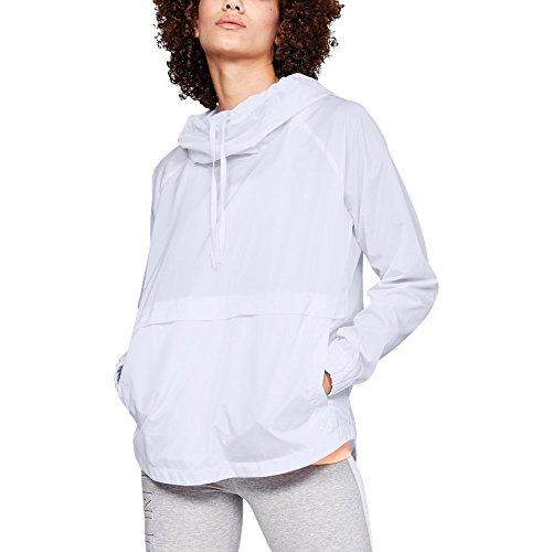 Under Armour Women's Storm Iridescent Woven Pullover, White (100)/Tonal, X-Large