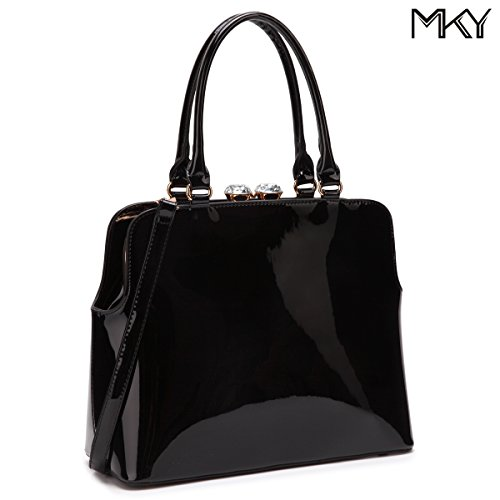Shiny Patent (Women Shiny Patent Leather Handbag Top Handle Satchel Shoulder Bag w/Top Rhinestone Black)