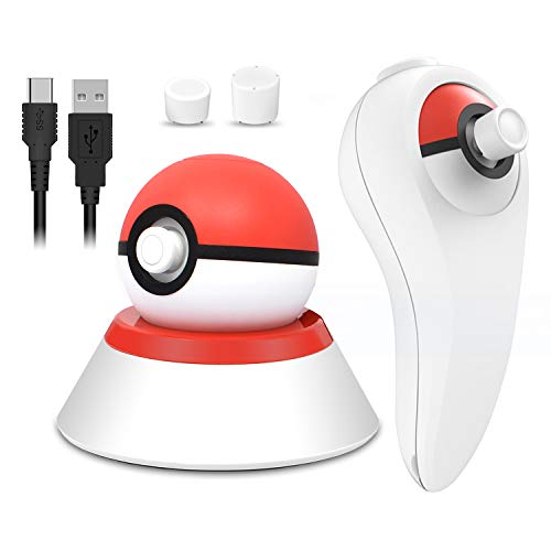 - 4 in 1 USB Charger Cable with Stand and Grip Holder for Nintendo Switch Poke Ball Plus Controller, Accessories Kit for Nintendo Pokémon Lets Go Pikachu Eevee Game Controller