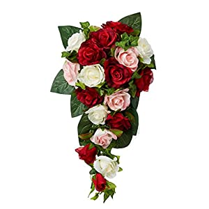 Red, Pink and Ivory Silk Rose Cascade - Bridal Wedding Bouquet 11
