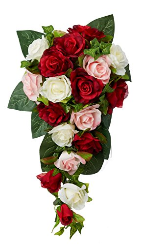 Red, Pink and Ivory Silk Rose Cascade - Bridal Wedding Bouquet