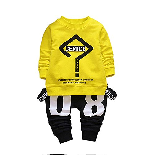 OrchidAmor Toddler Baby Kid Boy Girl Outfits Letter Printing T-Shirt Tops+Pants Clothes Set Yellow