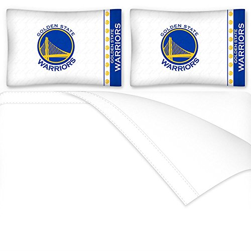 Sports Coverage NBA Golden State Warriors Micro Fiber Sheet Set, Queen, White by Sports Coverage