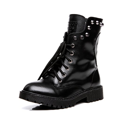 Womens Combat Boot - 6 -Eve Lace Up Studded With Rivets Bootie- Low Heel Military Boots By GIY